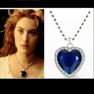 Titanic Heart of The Ocean Blue Crystal Necklace